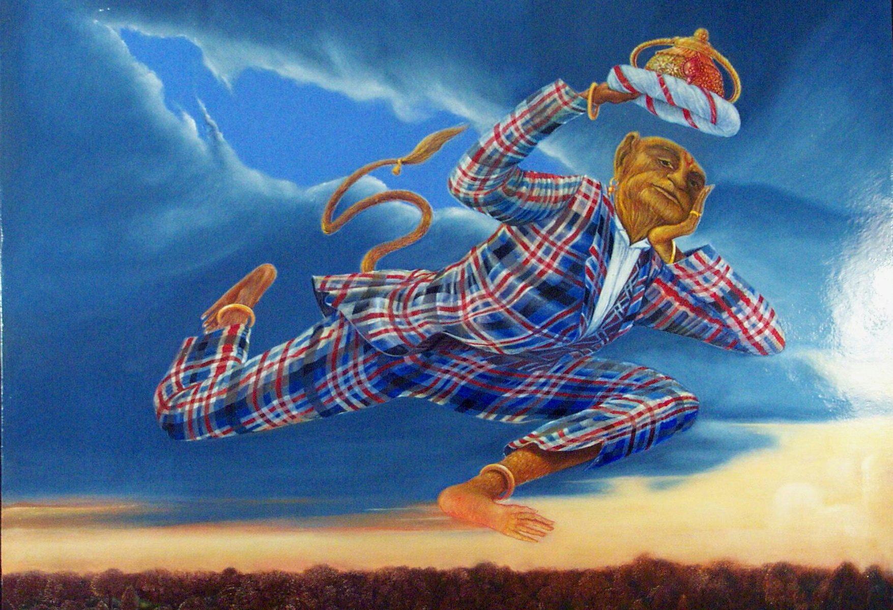 flying hanuman by Hans Diebschlag